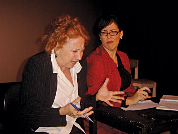 """MOURKA AND EVA TENUTO STAR IN AN ALL-FEMALE PRODUCTION OF DAVID MAMET'S """"GLENGARRY GLEN ROSS"""" AT THE ROSENDALE THEATER THIS MONTH."""