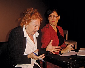 "MOURKA AND EVA TENUTO STAR IN AN ALL-FEMALE PRODUCTION OF DAVID MAMET'S ""GLENGARRY GLEN ROSS"" AT THE ROSENDALE THEATER THIS MONTH."