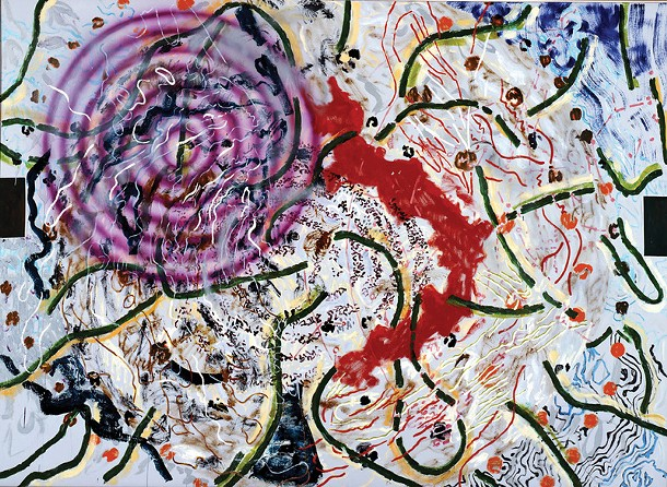 "Nancy Graves, Areol, oil and encaustic on canvas, 64"" x 88"", 1978."