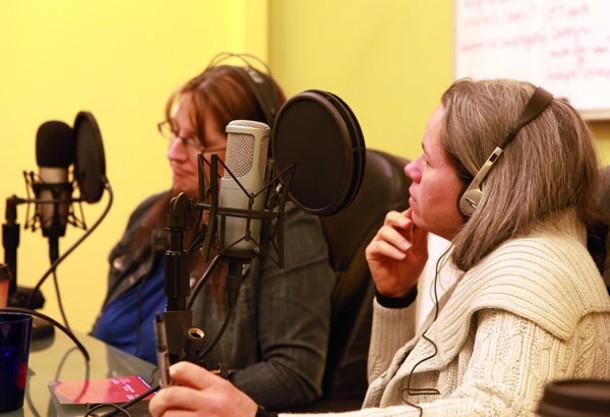Natalie Merchant and Renee Fillette in Chronogram's recording room.