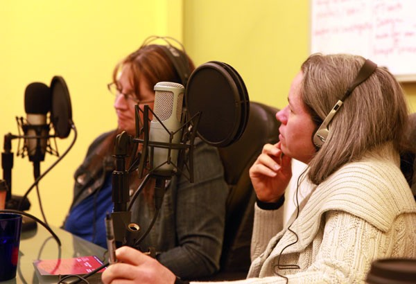 Natalie Merchant and Renee Fillette in Chronogram's recording room.