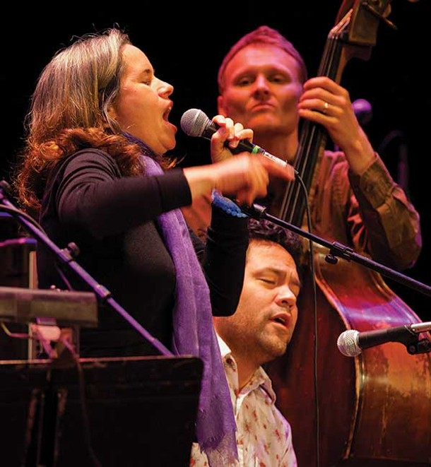 Natalie Merchant, Daniel Littleton, and Chris Wood (on bass) performing at the Shelter from the Storm concert at UPAC on November 18. The concert raised $100,000 for victims of Hurricane Irene. - JOHN DESANTO/TIMES-HERALD RECORD