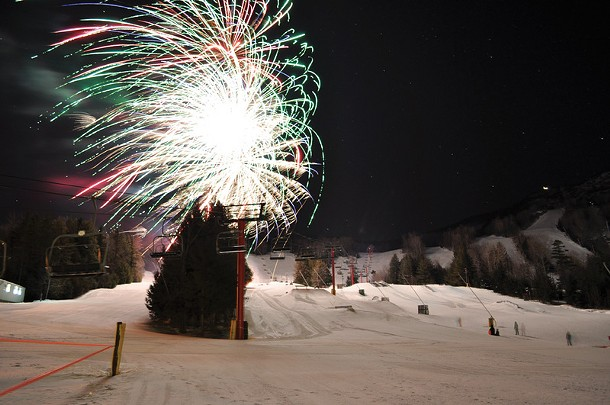 New Year's Eve fireworks at Hunter Mountain.