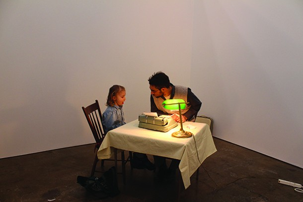"""Ori Alon helping Zora write a letter to her parents. He performs """"Letters of all Sorts"""" in Beacon this month. - ROTEM ROZENTAL"""