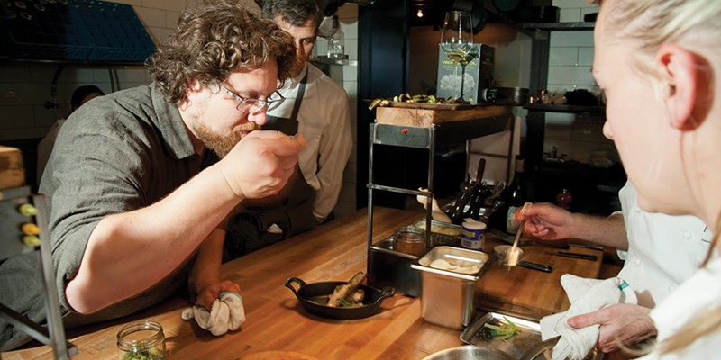 Fish & Game Owner Zak Pelaccio does a taste-test. Roy Gumpel