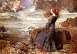 JOHN WILLIAM WALTERHOUSE - Painting of Miranda from The Tempest.