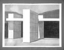 Pavilion Model Drawing B.22, 2004, Charcoal on paper, 42 x 60 inches