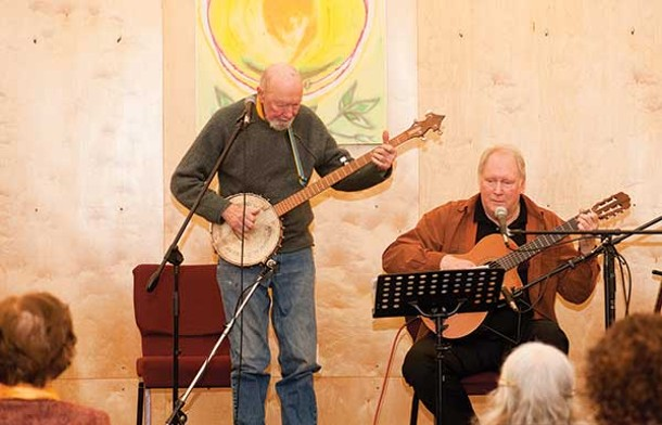 Pete Seeger and Jim Scott perform at the Unitarian Universalist Congregation at Rock Tavern on January 19. - LISA KIMBALL