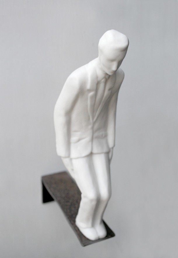 """Plank"" Emil Alzamora, porcelain and steel, 8.5 inches tall; 2009."