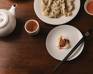 Pork dumplings with spicy sauce at Palace Dumpling in Wappingers Falls.