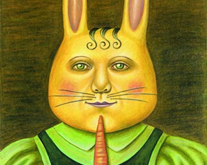 "Portrait of an Easter Bunny, Carol Rizzo, colored pencil on paper, 8½"" x 11½"", 2011."