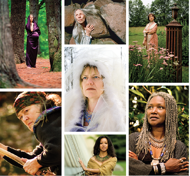 Portraits from Goddess on Earth: Portraits of the Divine Feminine by Lisa Levart, Lush Press, 2011, clockwise from top left: Katie Scoville Wilson as Mary Magdalene; Renée Gorin as Becate; Madhur Jaffrey as Durga; Jan Hilliard as Bathor; Crystal Johnson as Isis; Susun Weed as Baba Yaga; center: Maria Palmer as Norns.