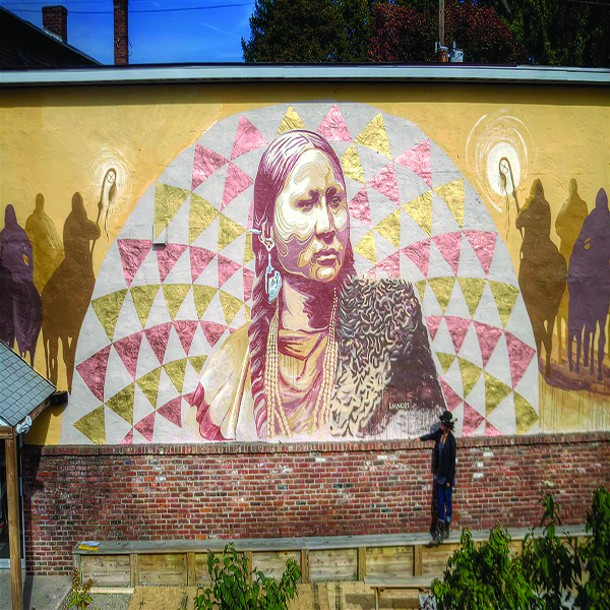 Pretty Nose and Dakota Unity Riders, a mural by Lmnopi.