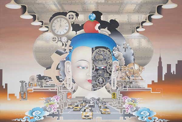 "Rabkar Wangchuk, Spiritual Mind and Modern Technology, acrylic on canvas, 78"" x 48"", 2013. Courtesy of the Shelley and Donald Rubin Private Collection."