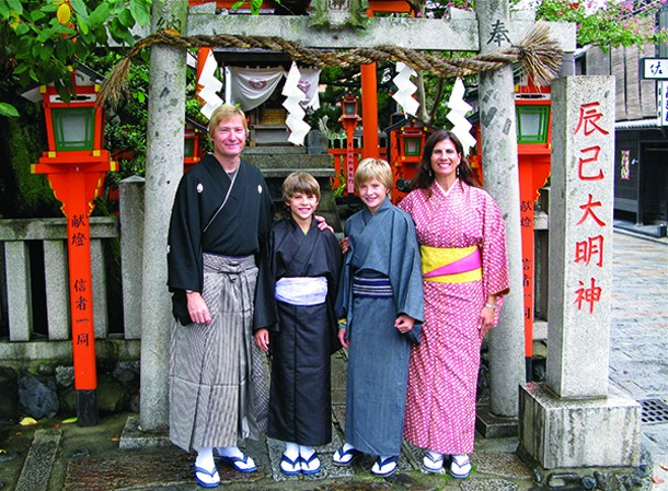 Rainer Jenss with his family in 2008 in Kyoto during their around-the-world tour.