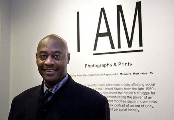 "Raymond J. McGuire at the closing reception of the ""I Am"" exhibit at the Hotchkiss School's Tremaine Gallery on February 2."