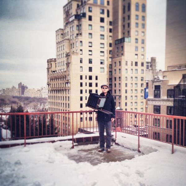 RCM Shooting collodion tintypes on the rooftop penthouse suite of the Quin Hotel, Winter 2014.
