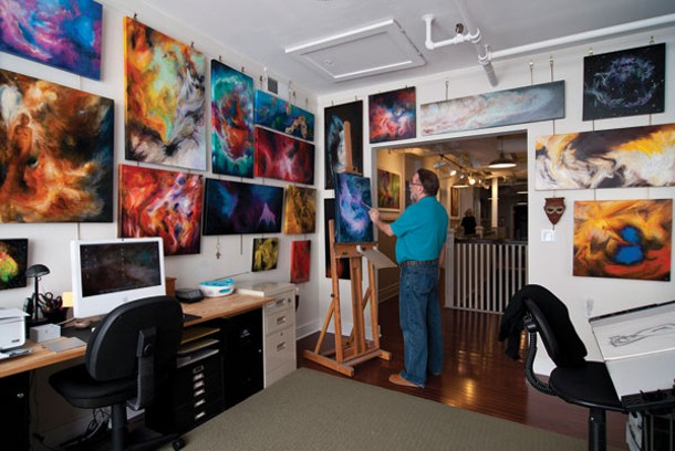 Rich Morris painting in his studio. - DEBORAH DEGRAFFENREID