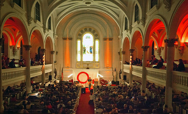 Richard Buckner performing in the Old Dutch Church at the 2012 O+ Festival.