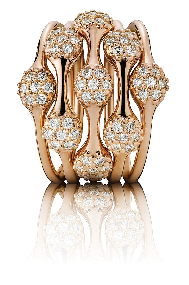 Rings from Pandora's Lovepods Collection, 18K rose gold with pave diamonds in 1, 2 & 3 pods.