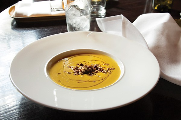Roasted butternut squash soup with candied pecans at Mill House Brewery in Poughkeepsie. - ANN STRATTON