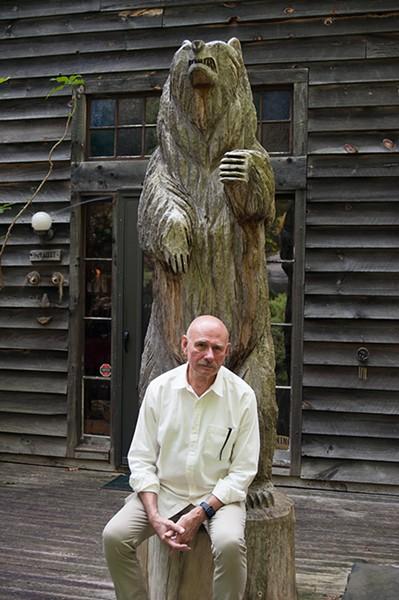 Robert Wyatt with Amanuensis Bear. - ROY GUMPEL