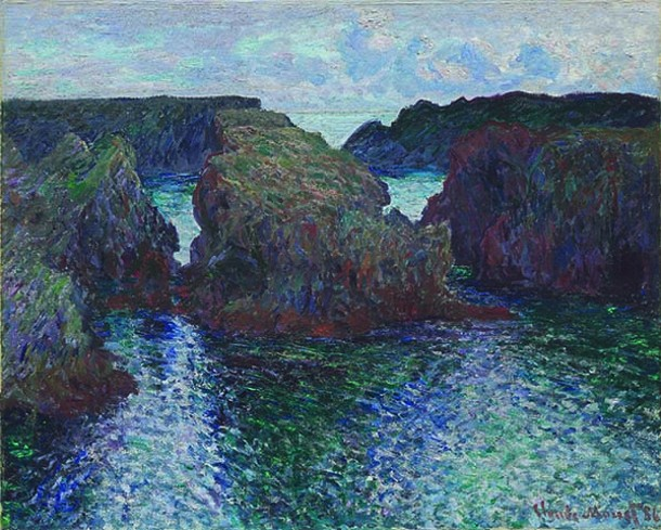 """Rocks at Port-Goulphar, Belle-Île, Claude Monet, oil on canvas, 26"""" x 32 3/16"""", 1886. The Art Institute of Chicago. Gift of Mr. and Mrs. Chauncey B. Borland, 1964.210"""