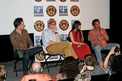 Screenwriter Doug Stone, director George Ratliff, Woodstock Film Festival Executive director Meira Blaustein, and author Larry Beinhart at a screening of Salvation Boulevard at Upstate Films in Woodstock on July 13. Photo by Brian K. Mahoney.