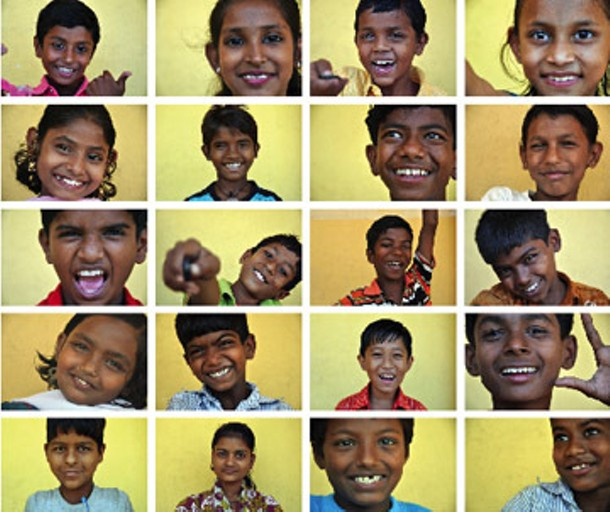 """Self-portraits by children of C.H.I.P. & Nanhi Kali Schools from """"I AM: India,"""" 2010"""