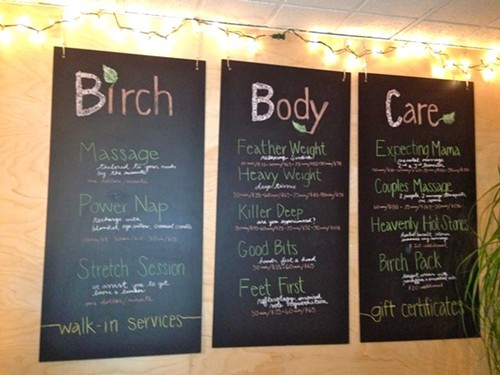Service Menu at Birch Body Care