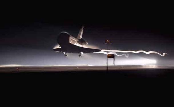 Shuttle Atlantis lands at the Kennedy Space Center in Florida on Thursday, July 21, 2011. This was the last Space Shuttle mission, ending a 30-year era of space history.