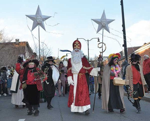 Sinterklaas leading the annual holiday parade in Rhinebeck on December 1. - NANCY DONSKOJ
