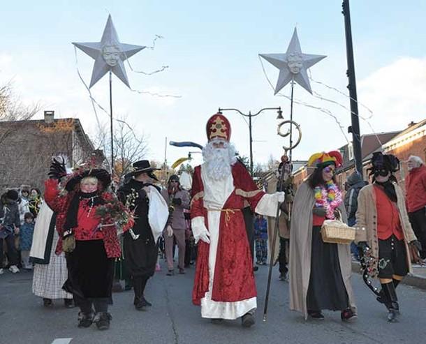 Sinterklaas leading the annual holiday parade in Rhinebeck on December 1. - NANCY DONSKOJ