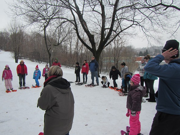 Snowshoeing at Hasbrouck Park during Winter Fest 2013 - STEVE NOBLE