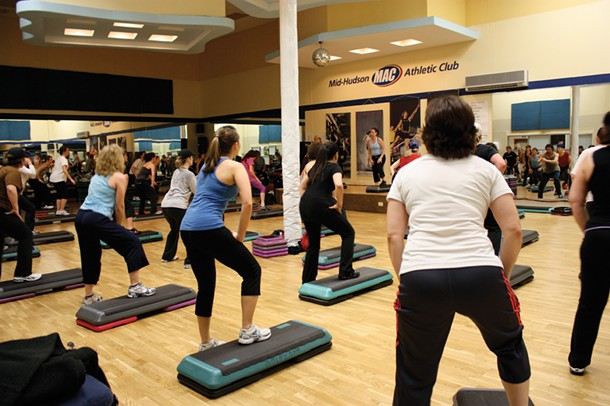 Step class at Mac Fitness in Kingston. Mac Fitness offers group exercise classes at its route 9W location in Kingston.