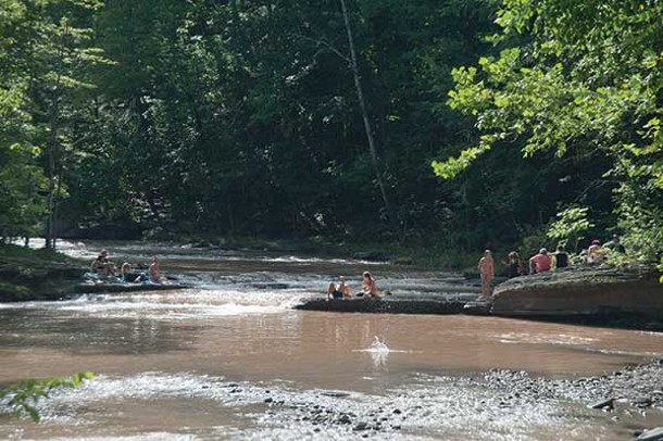 Swimming in the Sawkill Creek along Ohayo Mountain Road in Woodstock.