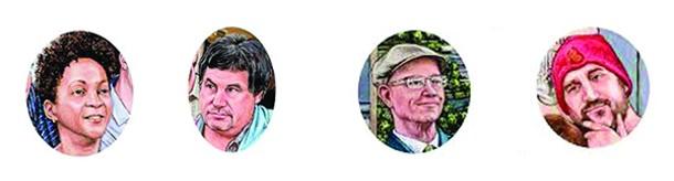 Teryl Mickens, former RUPCO staffer; Mike Moriello, RUPCO attorney; Kevin O'Connor, CEO, RUPCO; Opie Opalek, artist friend