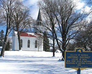 The 1810 Old School Baptist Meeting House at the corner of High and Church streets in Warwick