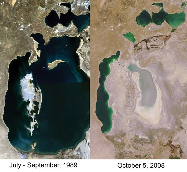 The Aral Sea, bordering Uzbekistan and Kazakhstan, in 1989 (left) and 2008 (right).