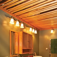 Catskill Cantilever The bathroom ceiling is open and made from bark-trimmed oak. Deborah DeGraffenreid