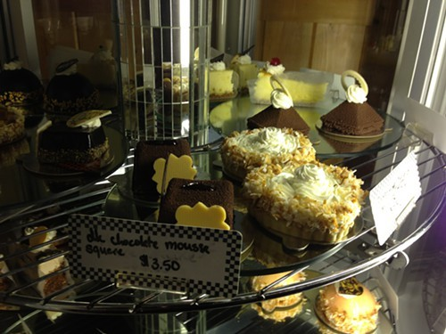 The dessert case will tempt you at Freds Place