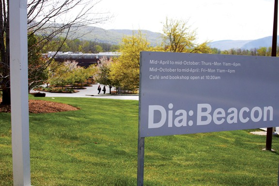 THE DIA:BEACON MUSEUM OVERLOOKS THE HUDSON RIVER, AND HOUSES THE WORK OF PRESTIGIOUS CONTEMPORARY ARTISTS FROM ANDY WARHOL TO RICHARD SERRA. LOCATED LESS THAN HALF A MILE FROM THE BEACON STATION ON THE METRO NORTH RAILROAD MANY MUSEUM-GOERS WALK FROM THE TRAIN. - NATALIE KEYSSAR