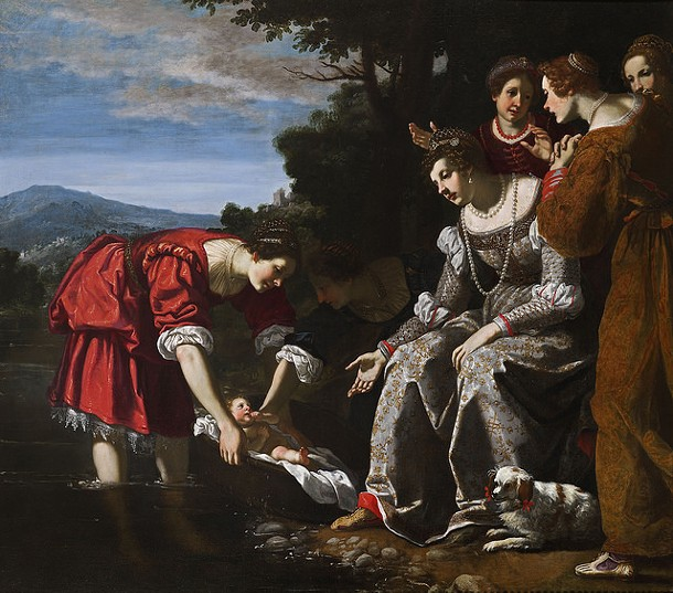 The Finding of Moses, Jacopo Vignali (Italian 1592-1664) - Signed and dated 1625 - Oil on canvas - 72 ½ x 82 ¾ inches (184 x 210 cm.) - THE FRANCES LEHMAN LOEB ART CENTER, VASSAR COLLEGE