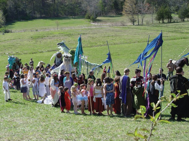 The forming of the Beltane parade on the grounds of the Center for Symbolic Studies in Rosendale. Beltane is celebrated every year on May 1. Photo by Linda Law.