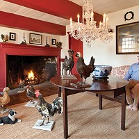 Robert Sweeney and Eddie Cattuzzo's Flatbush Stone Home The living room features an eight-foot hearth, Chinese export punch bowl, natural sisal carpets, and a collection of antique taxidermied chickens.