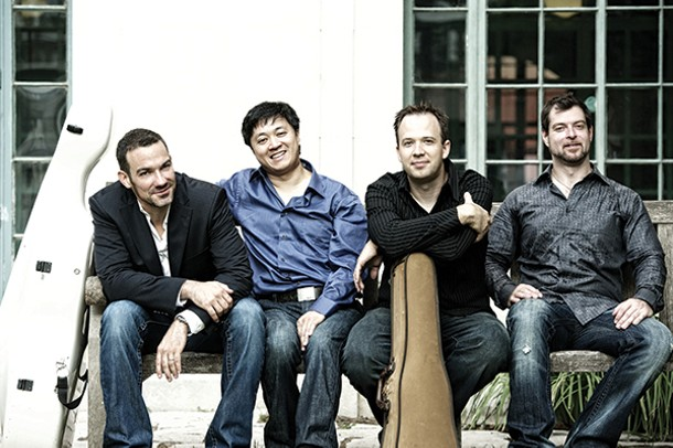 The Miró String Quartet, left to right: Joshua Gindele, cello; Daniel Ching, violin; William Fedkenheuer, violin; and John Largess, viola.