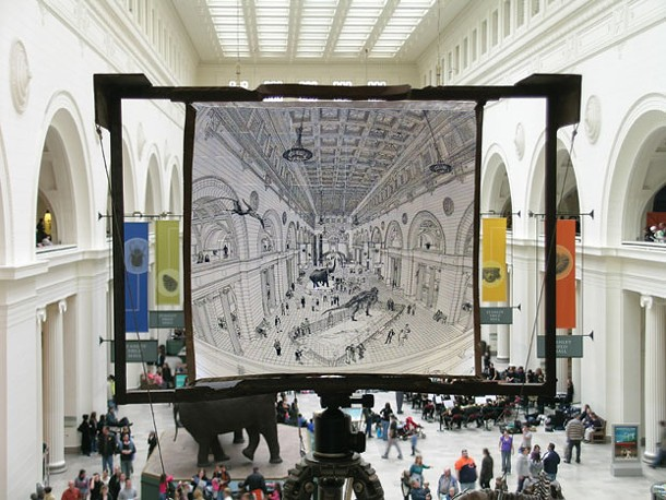 The Oakes's brothers drawing of the Field Museum 's main gallery in Chicago, made on a concave easel to mimic binocular vision.