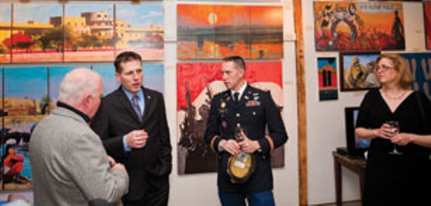 """The opening reception for the """"Grafiti of War"""" exhibition at Wolf Gang Gallery in Montgomery. - NATE BAINES/SOUTHERN TIER PHOTOGRAPHY"""