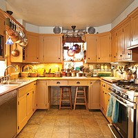 A Craftsman's Home in Rosendale The renovated kitchen Vis gutted and remodeled to create a vintage look with handmade cabinets. Deborah DeGraffenreid