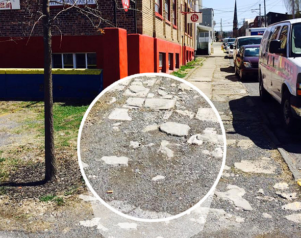 """The sidewalk along Columbia Street. Photo from the """"Brick x Brick"""" Indiegogo page."""